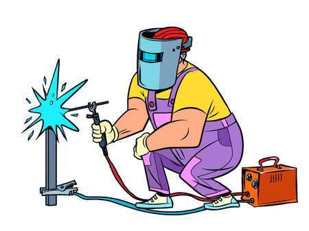 Welder. Worker welds the material. Construction and renovation
