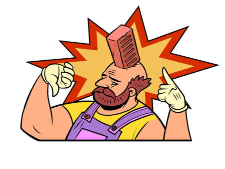 a brick fell on his head Production safety construction and repair Ilustração