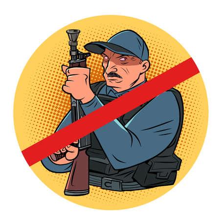 Minsk, Belarus - August 23, 2020. Dictator and President of the Republic of Belarus Alexander Lukashenko with a machine gun Ilustração