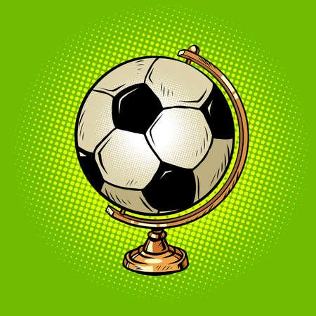 globe international soccer ball, football sports equipment Vetores