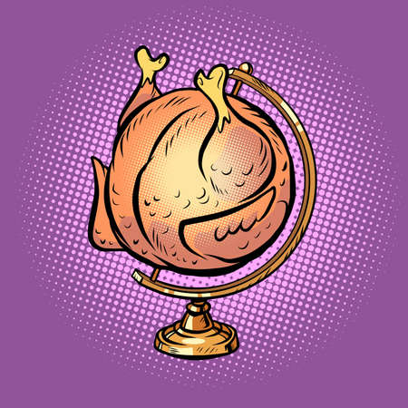globe international grilled chicken on a spit Vector Illustration