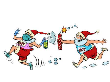 coronavirus Santa Claus 2020 runs after healthy Santa 2021
