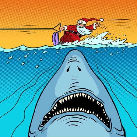 Santa Claus is water skiing. Dangerous shark underwater