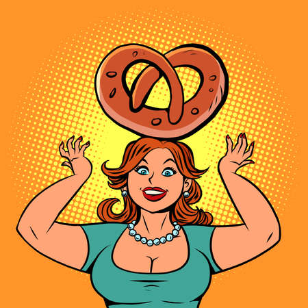 Funny woman pastry chef with pretzel