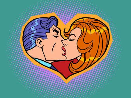 Heart Valentine silhouette. A man and a woman passionate kiss. Love and romance Illusztráció