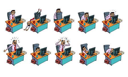 Set office work, businessman 向量圖像