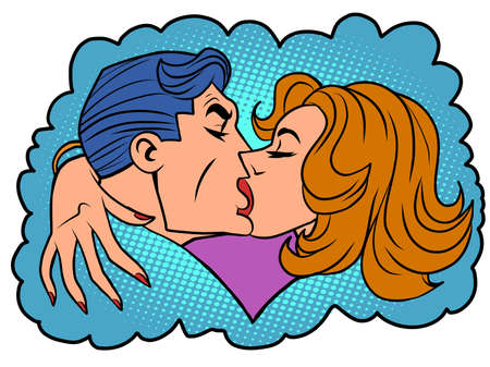 A man and a woman a passionate kiss Illusztráció