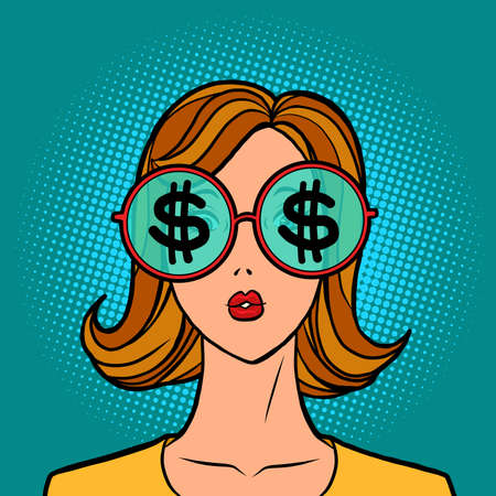dollars money finance, young woman in stylish sunglasses
