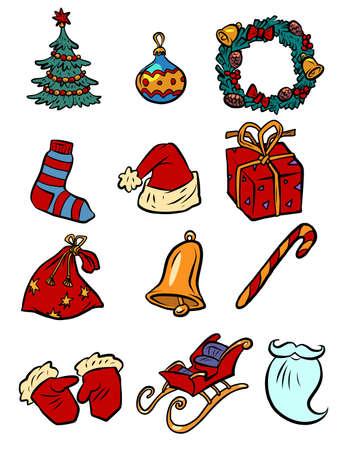 Christmas New year Santa collection set icons symbols