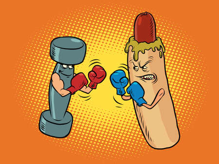 hot dog and dumbbell boxing. Healthy and harmful lifestyle