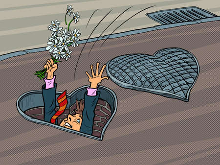 A man in love was going on a date and fell into a manhole, Valentines heart holiday Ilustracja
