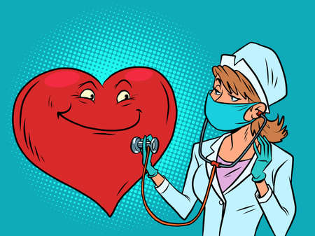 A female doctor listens to the heart. Valentines Day Ilustracja