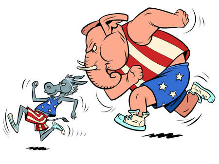 republicans and democrats donkey and elephant