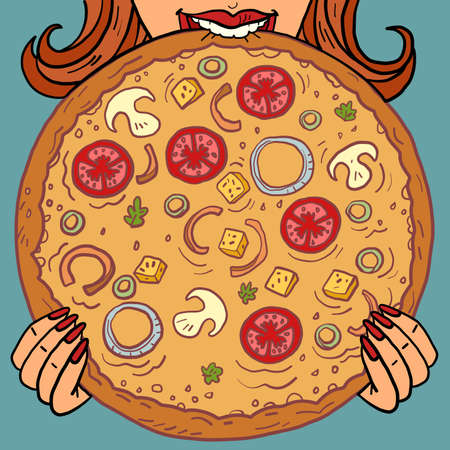 a woman eats. pizza mushrooms tomatoes. restaurant food delivery