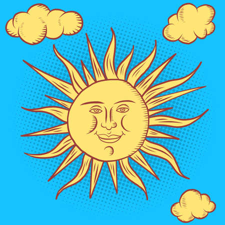 sun character. round face stylized retro style Ilustracja