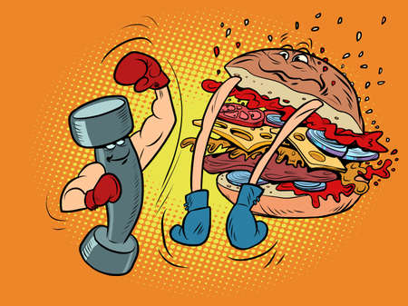 Dumbbell boxing against burger. Sports lifestyle versus harmful Ilustracja