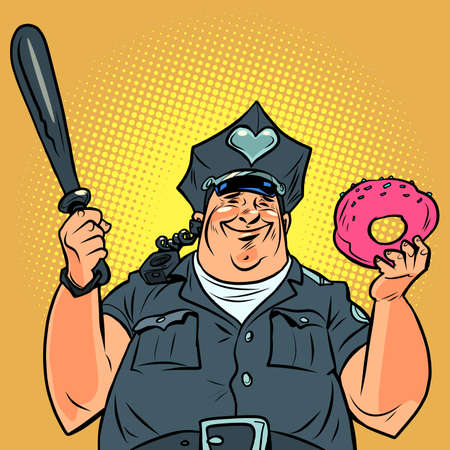 Fat cop with a doughnut