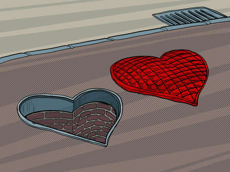 manhole road hatch in the shape of a heart. Valentines Day