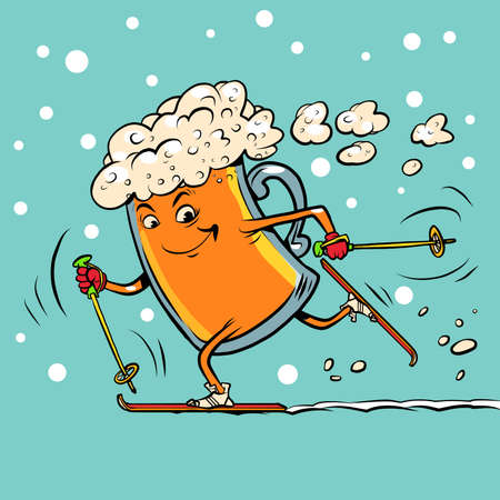 Beer mug runs on skis Ilustracja