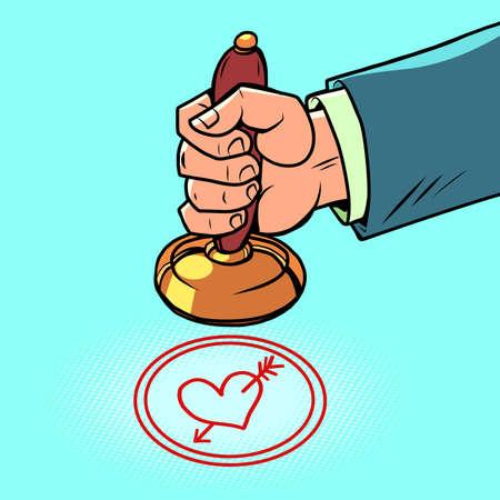 love valentines day hand puts a stamp Ilustracja