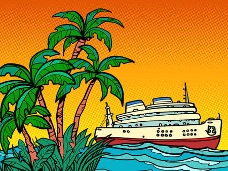 cruise ship. sea trip to a tropical island Ilustracja