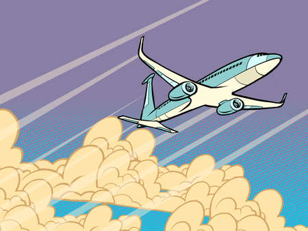 passenger plane flying in the clouds Ilustracja