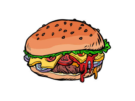 Burger fast food illustration Ilustracja