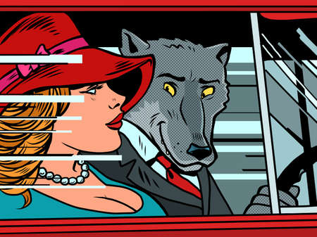 Wolf and woman in the car