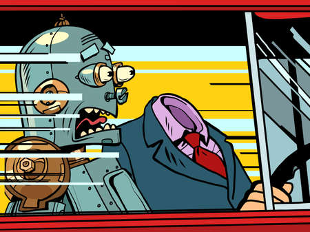 the robot passenger screams in fear. Dangerous driving on the road Ilustracja