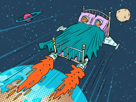astronauts sleep in a rocket bed. Conquering other planets Ilustracja