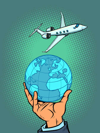International flight on a passenger liner. Tourism and travel