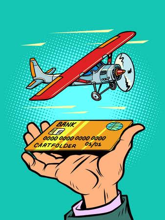 passenger small propeller aircraft, credit or debit bank card