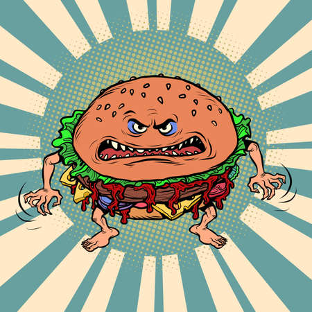 Angry hungry burger character. Emotional fast food Ilustracja