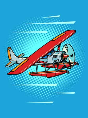 hydroplane, passenger water propeller plane, retro recreational aviation