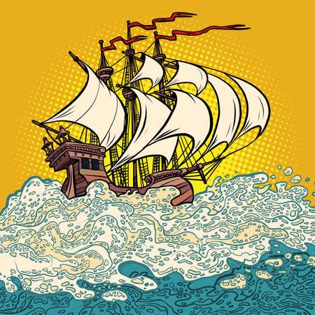an ancient sailing ship, the caravel of Columbus. Sea voyages