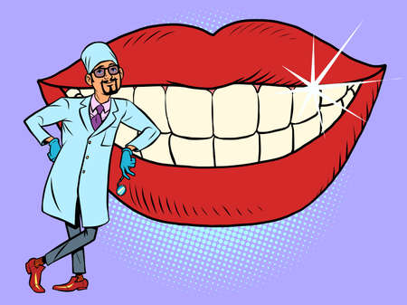 Dentist and white smile teeth mouth. Hygiene and health