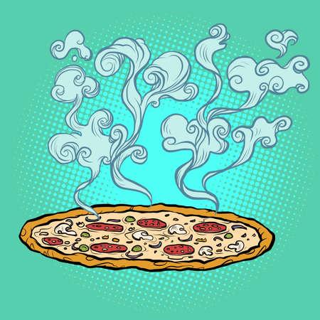 pizza, Italian restaurant. street fast food. delicious appetizing food