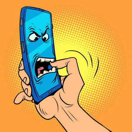 The smartphone character bites his hand. Dangerous mobile phones, information security and online addiction
