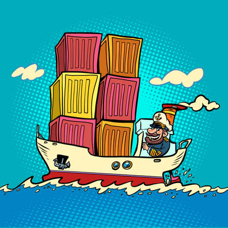 ship container shipping, captain sailor comic character. Cargo transport