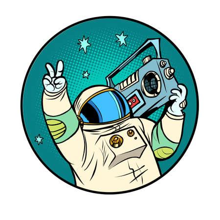 astronaut with a boombox, disco retro music, portable audio Ilustracja