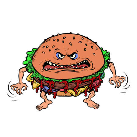 Angry hungry burger character. Emotional fast food. isolate on white background Ilustracja