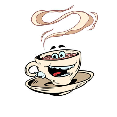 joyful positive cup of coffee funny character. Hot morning drink