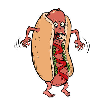 angry negative dangerous hot dog fast food funny mascot character, restaurants and street food