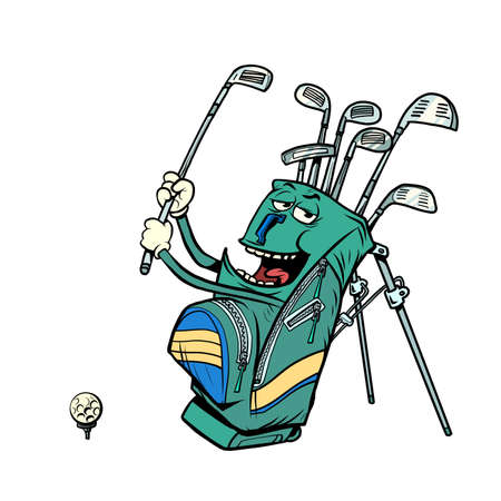 golf bag funny character, clubs and sports equipment, golf club Ilustracja