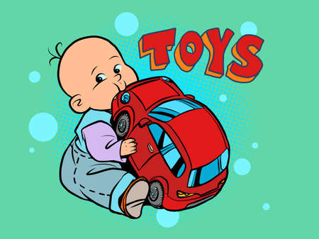 little baby favorite cute baby chewing on a toy car