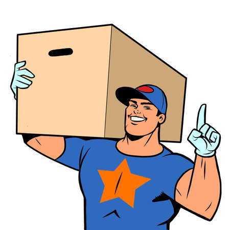 Strong man courier delivery in a box. Online store service Ilustracja