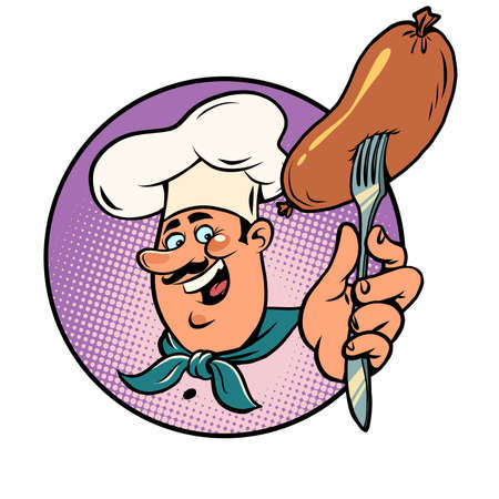 the sausage is boiled or fried, the joyful cook has prepared the food. Picnic or restaurant Ilustracja