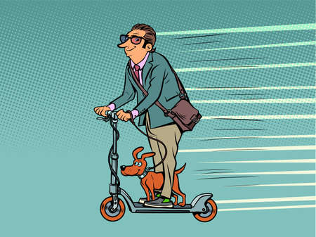 a businessman with a dog rides on an electric scooter. alternative green ecological urban transport. Pets Ilustracja