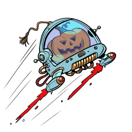 Halloween pumpkin in space, an autumn holiday. The Terrible Astronaut. Isolate on a white background Ilustracja