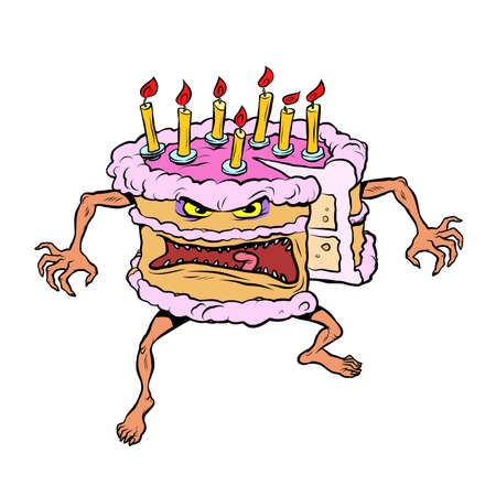 Funny angry cake. A bad birthday holiday. Sweet pastry character isolate on white background